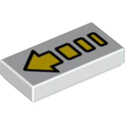 White Tile 1 x 2 with Groove with Yellow Arrow Segmented Pattern (2)
