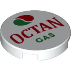 White Tile, Round 2 x 2 with Bottom Stud Holder with Octan Logo and 'OCTAN GAS' Pattern