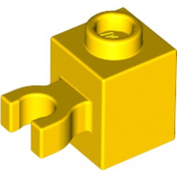Yellow Brick, Modified 1 x 1 with Open U Clip (Vertical Grip) - Solid Stud - used