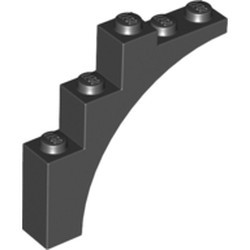 Black Brick, Arch 1 x 5 x 4 - Continuous Bow - used