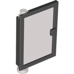Black Door 1 x 4 x 5 Left with Trans-Black Glass - used