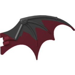 Black Dragon Wing 19 x 11 with Marbled Dark Red Trailing Edge Pattern