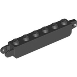 Black Hinge Brick 1 x 6 Locking with 1 Finger Vertical End and 2 Fingers Vertical End, 9 Teeth - used
