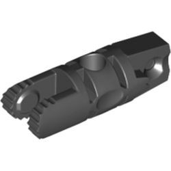 Black Hinge Cylinder 1 x 3 Locking with 1 Finger and 2 Fingers on Ends, 7 Teeth, with Hole
