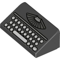 Black Slope 30 1 x 2 x 2/3 with Manual Typewriter Vintage Keyboard Pattern