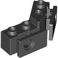 Black Technic, Brick 1 x 2 - 1 x 2 Angled with Bumper Holder