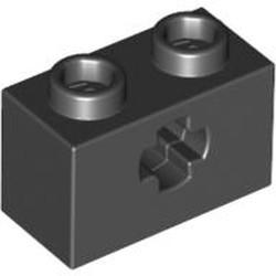 Black Technic, Brick 1 x 2 with Axle Hole - new