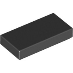 Black Tile 1 x 2 with Groove - used