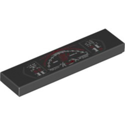 Black Tile 1 x 4 with Lamborghini Dashboard Gauges Pattern - new