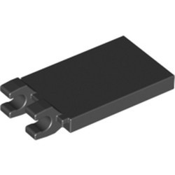Black Tile, Modified 2 x 3 with 2 Open O Clips - used
