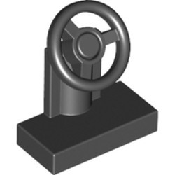 Black Vehicle, Steering Stand 1 x 2 with Black Steering Wheel