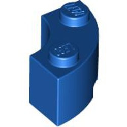 Blue Brick, Round Corner 2 x 2 Macaroni with Stud Notch - used