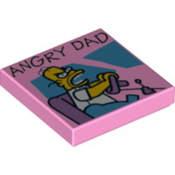 Bright Pink Tile 2 x 2 with Groove with 'ANGRY DAD' Pattern - new
