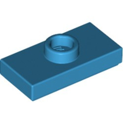 Dark Azure Plate, Modified 1 x 2 with 1 Stud with Groove and Bottom Stud Holder (Jumper) - used