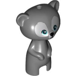 Dark Bluish Gray Bear, Brave, Baby Cub, Standing with Medium Azure Eyes, Black Nose and Light Bluish Gray Fur Pattern - used
