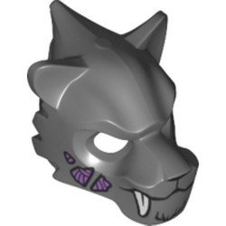 Dark Bluish Gray Minifigure, Headgear Mask Tiger with White Fangs, Fur and Medium Lavender Sinew Patches Pattern - used