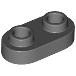 Dark Bluish Gray Plate, Modified 1 x 2 Rounded with 2 Open Studs - new