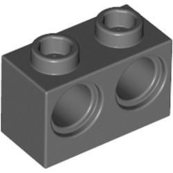 Dark Bluish Gray Technic, Brick 1 x 2 with Holes