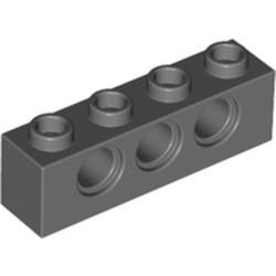 Dark Bluish Gray Technic, Brick 1 x 4 with Holes