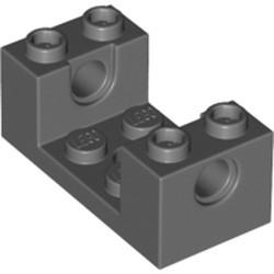 Dark Bluish Gray Technic, Brick 2 x 4 x 1 1/3 with Holes and 2 x 2 Cutout - used