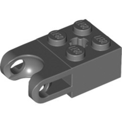 Dark Bluish Gray Technic, Brick Modified 2 x 2 with Ball Socket Wide and Axle Hole - used