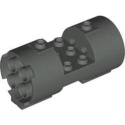 Dark Gray Cylinder 3 x 6 x 2 2/3 Horizontal - Round Connections Between Interior Studs