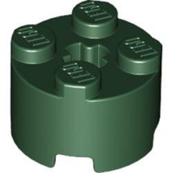 Dark Green Brick, Round 2 x 2 with Axle Hole