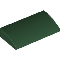 Dark Green Slope, Curved 2 x 4 x 2/3 with Bottom Tubes - new