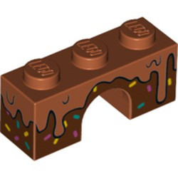 Dark Orange Brick, Arch 1 x 3 with Frosting Dripping over Dark Brown Icing with Sprinkles Pattern - new