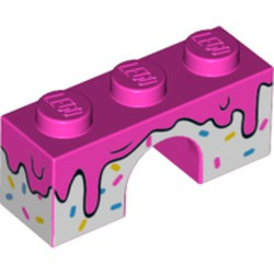 Dark Pink Brick, Arch 1 x 3 with Frosting Dripping over White Icing with Sprinkles Pattern - new