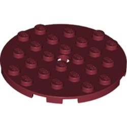 Dark Red Plate, Round 6 x 6 with Hole - new