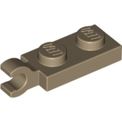 Dark Tan Plate, Modified 1 x 2 with Clip on End (Horizontal Grip) - new