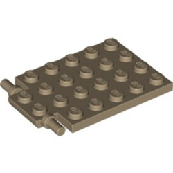 Dark Tan Plate, Modified 4 x 6 with Trap Door Hinge (Long Pins) - used
