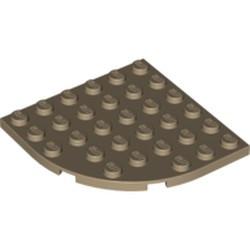 Dark Tan Plate, Round Corner 6 x 6 - new