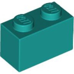 Dark Turquoise Brick 1 x 2 - new