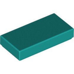 Dark Turquoise Tile 1 x 2 with Groove - new