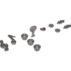 Flat Silver Minifigure, Utensil Trolls Flower, 7 Petals and Pin