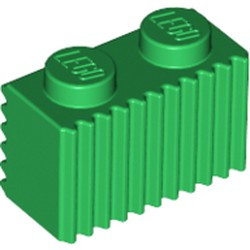 Green Brick, Modified 1 x 2 with Grille (Flutes) - used