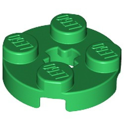 Green Plate, Round 2 x 2 with Axle Hole - used