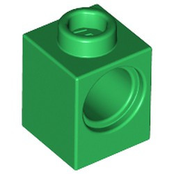 Green Technic, Brick 1 x 1 with Hole - used