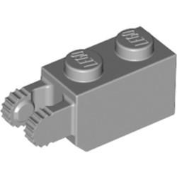 Light Bluish Gray Hinge Brick 1 x 2 Locking with 2 Fingers Vertical End, 9 Teeth - used