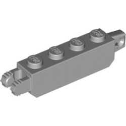 Light Bluish Gray Hinge Brick 1 x 4 Locking with 1 Finger Vertical End and 2 Fingers Vertical End, 7 Teeth - new