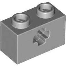 Light Bluish Gray Technic, Brick 1 x 2 with Axle Hole - new