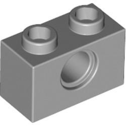 Light Bluish Gray Technic, Brick 1 x 2 with Hole - used