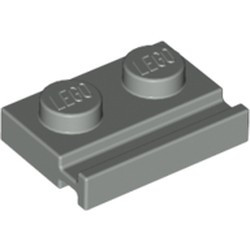 Light Gray Plate, Modified 1 x 2 with Door Rail - used