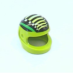 Lime Minifigure, Headgear Helmet Motorcycle with Green Stripes, Black Bars, and White Checkered Stripe Pattern - used