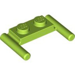 Lime Plate, Modified 1 x 2 with Bar Handles - Flat Ends, Low Attachment - used