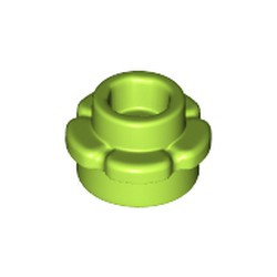 Lime Plate, Round 1 x 1 with Flower Edge (5 Petals) - new