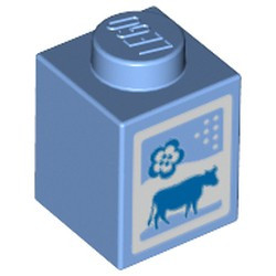 Medium Blue Brick 1 x 1 with Cow and Flower Pattern (Milk Carton) - new
