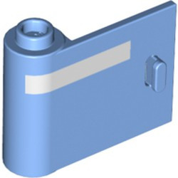 Medium Blue Door 1 x 3 x 2 Left - Open Between Top and Bottom Hinge with Horizontal White Line Pattern - new